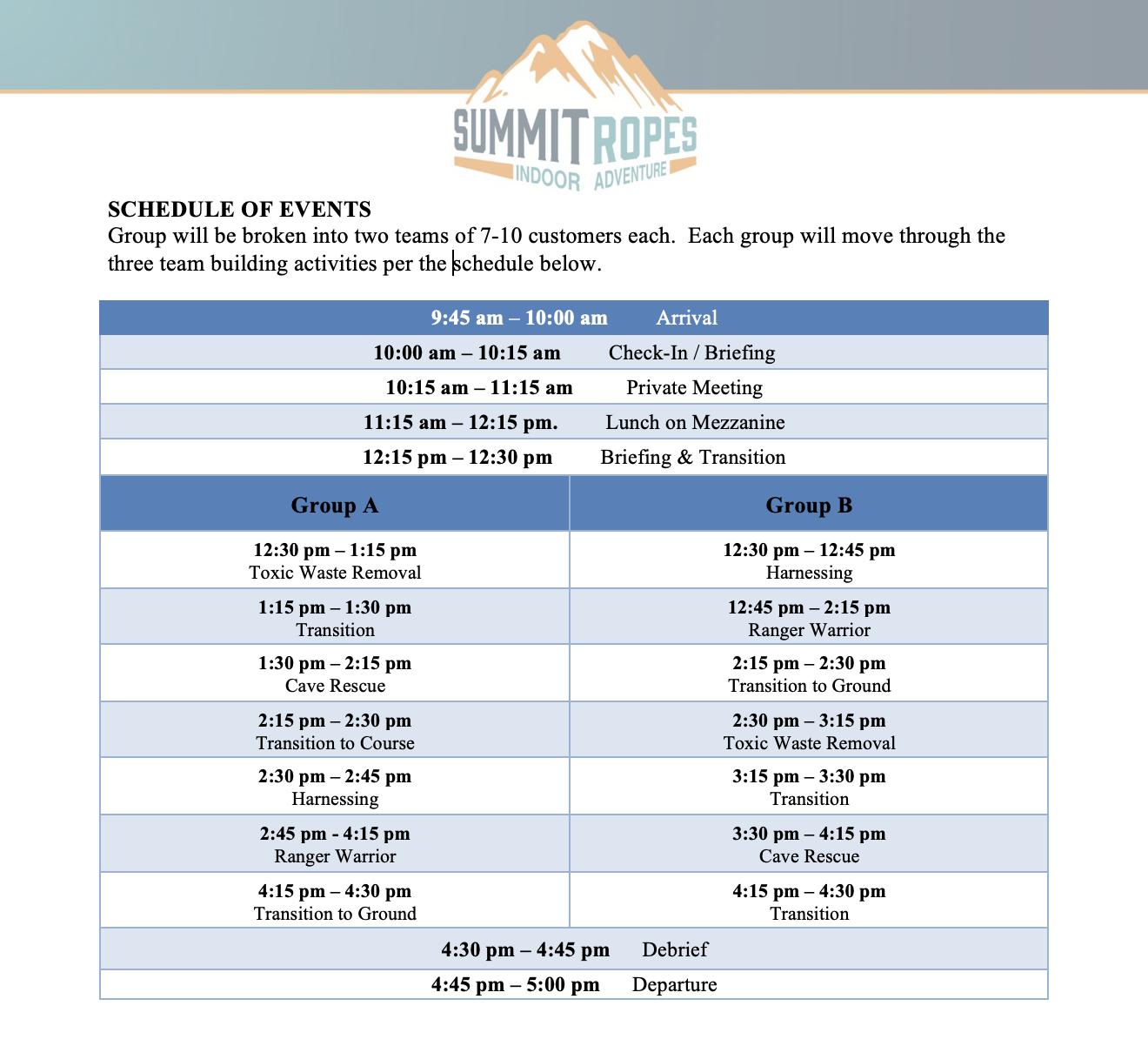 Team Building Sample Agenda